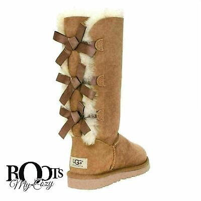 7bcdd0f05e3 UGG BAILEY BOW TALL Triplet Chestnut Women's US 7 Fits up to sz 8 ...