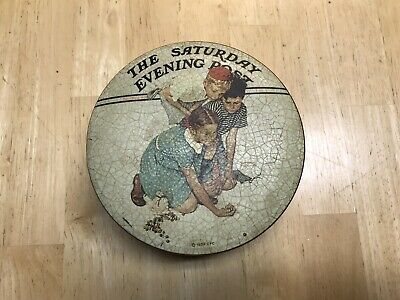 VTG Saturday Evening Post 1939 Norman Rockwell Marbles Champion Collectors Tin