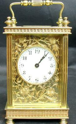 Antique French Ornate Floral Fret Masked Dial 8 Day Carriage Clock