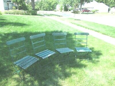 Set of Four (4) French Vintage Slatted Folding Chairs Wood Metal