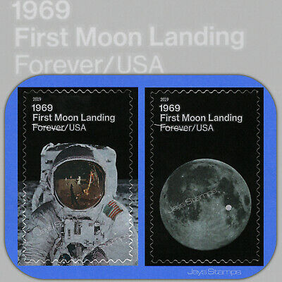 2019 FIRST MOON LANDING Set of individual USPS Forever® Stamps w/Bonus 5399-5400