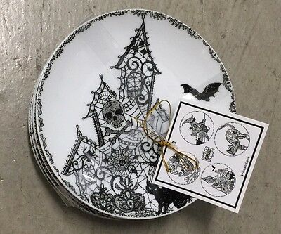 222 Fifth WICCAN LACE HALLOWEEN Appetizer Plate Set Of 4 BLACK CAT SKULL