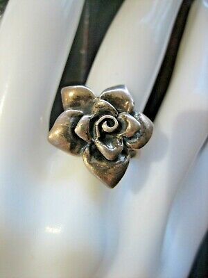 Estate Vintage Sterling Silver Rose Flower Ring Size 7.75