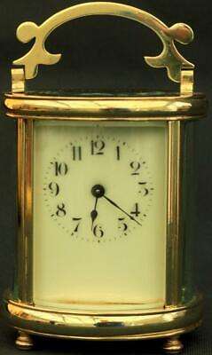 Couillett Freres Antique French Oval 8 Day Timepiece Carriage Clock