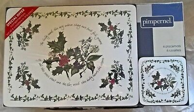 PORTMEIRION THE HOLLY AND THE IVY PIMPERNEL PLACEMATS & COASTERS Set of 6