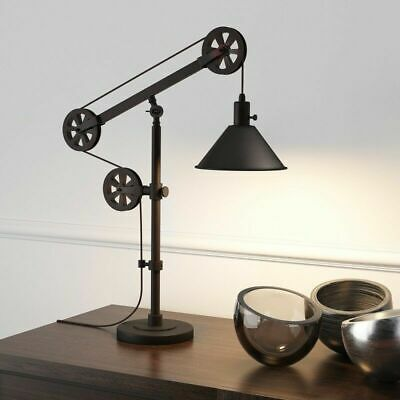 Rustic Lamp Farmhouse Table Desk Accent Lighting Modern Country Pulley Style New