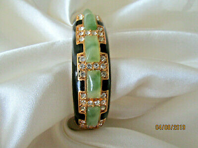 Kenneth Lane Signed Rhinestone Enamel Faux Jade Black Enamel Bangle Bracelet