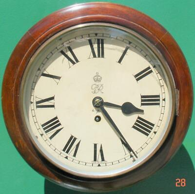 Wwii George Vi Gpo 8 Day English Mahogany Fusee Dial Clock