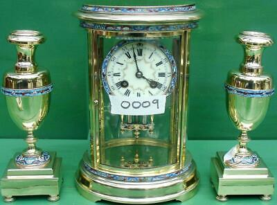 S Marti Antique French Cloisonne 8 Day Oval 4 Glass Crystal Regulator Clock Set