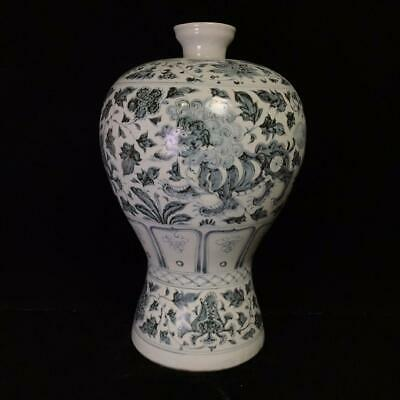 """17"""" Chinese old Porcelain Ming blue white Hand painting Lion Flowers plants vase"""