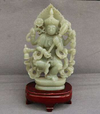 Chinese Exquisite Hand-carved Buddha Carving Hetian jade statue