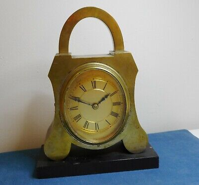 Antique Windup Brass Mantle / Travel Clock On Marble Base