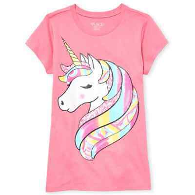 NWT The Childrens Place Unicorn Rainbow Sparkle Pink Girls Short Sleeve Shirt