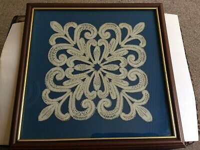Lace-Work Motif Large Square Pattern On A Blue Background - Framed Vgc