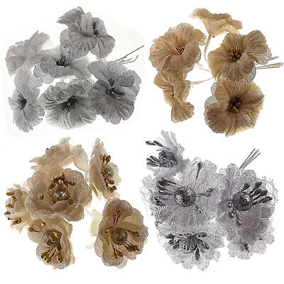 6pcs Artificial Gold Silver Christmas Craft Flowers Garland Floral Decoration