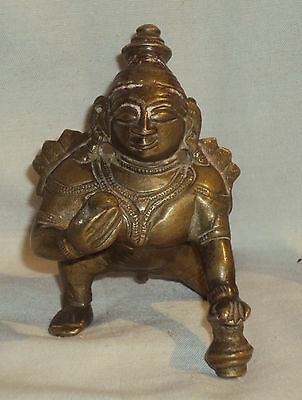Antique Traditional Indian Ritual Copper God Baby Krishna Crawling Rare ##2