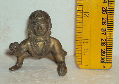 Antique Traditional Indian Ritual Brass God Baby Krishna Crawling  Rare #wh