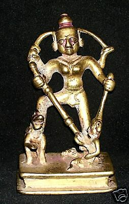 Antique Traditional Indian Bronze Statue Goddess Durga Mahisha