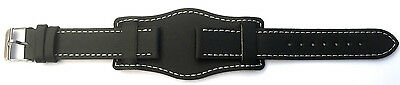 22mm GENUINE BLACK QUALITY LEATHER Military Style Cuff Watch Strap Band and Pins