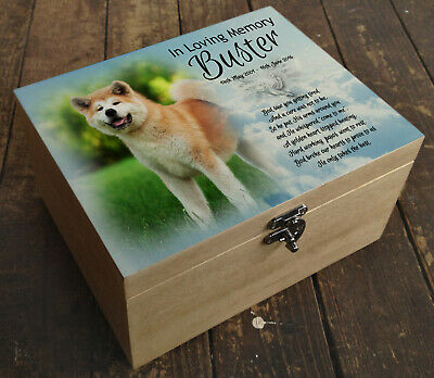 Wooden Pet Urn Dog Box Cremation Ashes Casket and headstone tile Akita dog