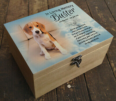 Wooden Pet Urn Dog Box Cremation Ashes Casket and headstone tile Beagle gift