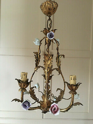 Divine Three Light Petite French Antique Cage Chandelier  With Porcelain Roses