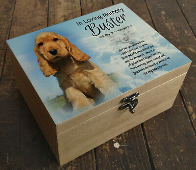 Wooden Pet Urn Dog Box Cremation Ashes Casket and headstone tile Cocker Spaniel
