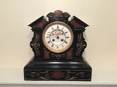 Impressive French Black Slate & Marble Mantel Clock c1870