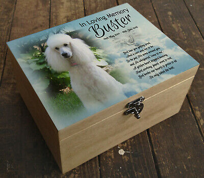 Wooden Pet Urn Dog Box Cremation Ashes Casket & headstone tile Poodle
