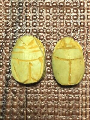 Pair Antique Egyptian Carved Stone Faience Scarab Beads Pendants
