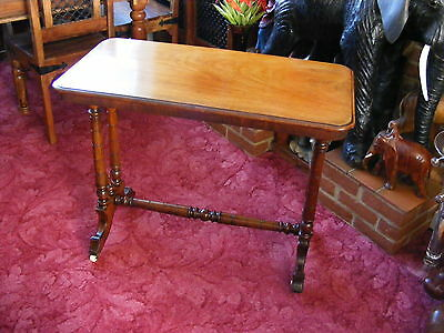 Antique Victorian Wood Stretcher Side Card Carved Hall Occasional Table Trolley