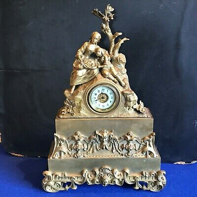 Antique French Mantle Clock Bronze Ormolu 8 Day 19th century