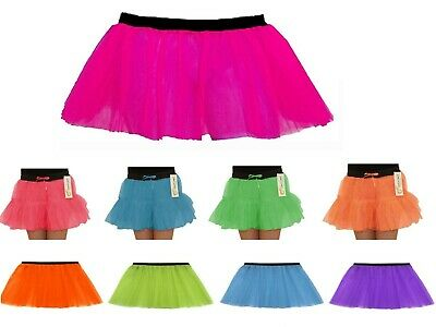 Ladies Womens Girls Fancy Dress Hen Party Neon Tutu Skirt With Two Three Layers