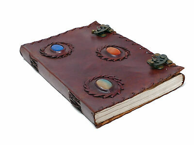 """3 Stones Handmade Leather Journal 10X7"""" Book Of Shadows Brass Latch Unique"""