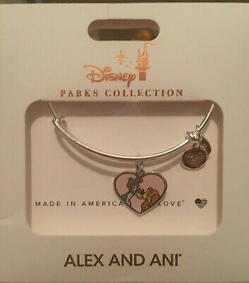 Disney Alex /& and Ani Lady And The Tramp Heart Silver Bracelet Together Fur-ever