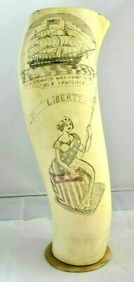 Vintage Cow Horn Scrimshaw Patriotic Liberty USS Constitution Old Ironsides Ship