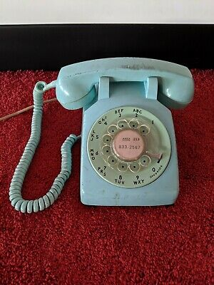 Vintage Western Electric 500 Blue Rotary Dial Phone Bell System 3 wire 1950's