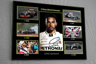 Lewis Hamilton 6 Times F1 World Champ Merc Framed Canvas Print Signed Great Gift