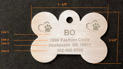 Personalized dog ID tags engraved with state-of-the-art fiber laser