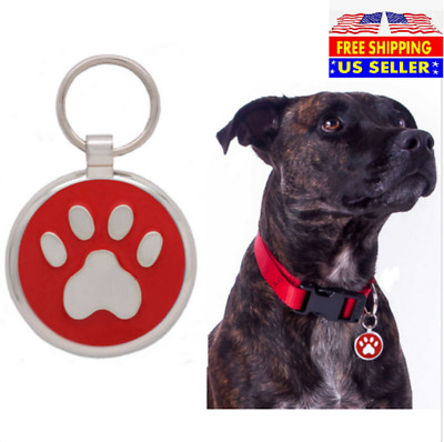 Paw Print Pet ID Tags Custom Engraved Dog Cat Tag Personalized