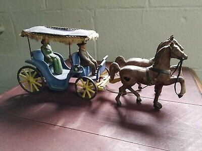 Vintage Cast Iron Horse Drawn Buggy With Lady Old Original USA cast Toy antique