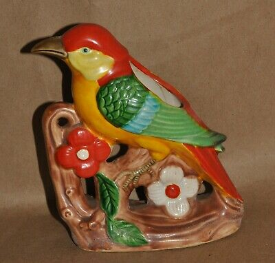 Vintage Pottery Parrot Bird Colorful Planter Flowers Branches Red Blue Green