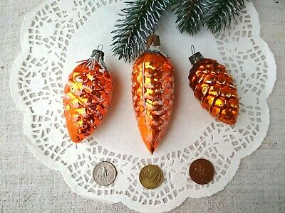 Vintage Christmas Glass Set Pine cone Orange Frosted Soviet USSR Xmas 50s 129