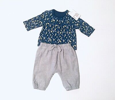 Mothercare Baby Girls Blue Top Grey Trousers Outfit Size Newborn Floral