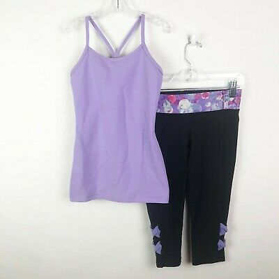 Ivivva X Lululemon Girls Size 10 Outfit Set Tank Top Crop Leggings Black Purple