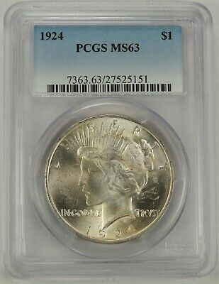 1924-P  $1 Peace Silver Dollar PCGS MS64 #27525151  EYE APPEAL -read description