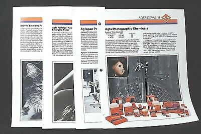 Vintage Agfa-GeVaert Photo Supplies Informational Sheets: Papers /Film/Chemicals