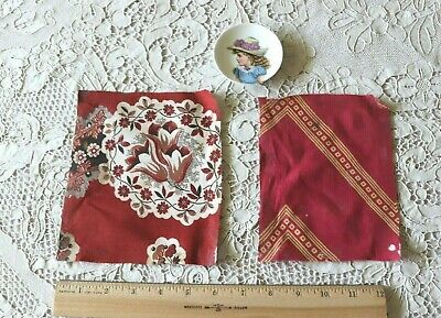 French Hand Blocked Antique c1860 Turkey & Madder Red Bandana Fabric Samples