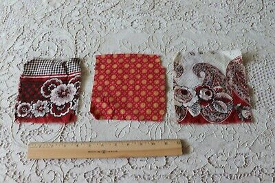 3 Antique French Cotton Bandana Fabric Samples c1860~Madder/Turkey Red
