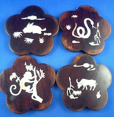 RARE Vintage HANDCRAFTED (4Pc) Wood/Mother of Pearl ANIMAL Drink Coasters Carved